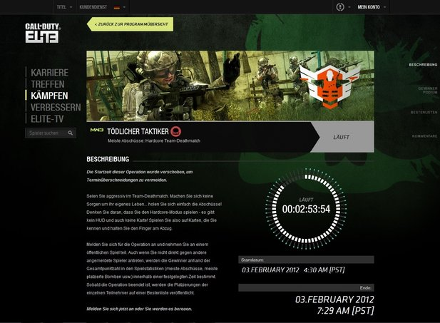 Call of Duty: Elite bietet Komfortfunktionen und Statisktiken für Call-of-Duty-Spieler die bereit sind, zusätzliche Gebühren zu zahlen.