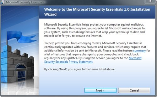 Der Installationsbildschirm der Security Essentials