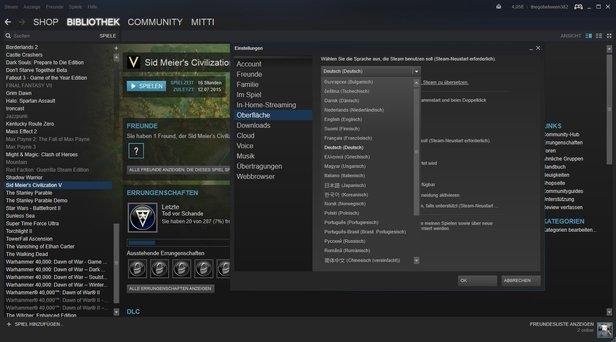 steam sprache ändern spiel