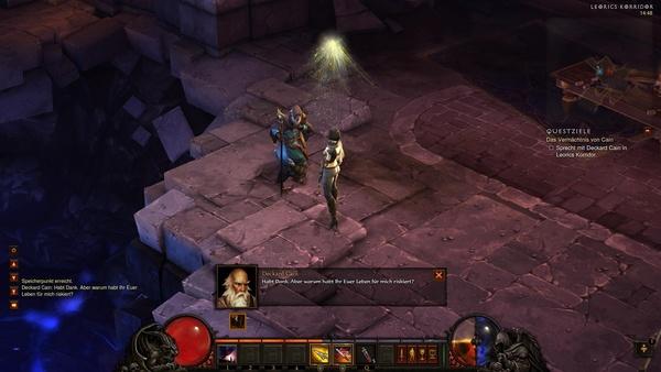 Diablo 3 - Komplettlösung : Deckard Cain ist uns dankbar für seine Rettung.