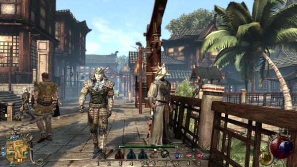 Two Worlds 2 : Samurai-Wachen streifen durch das fernöstlich gestaltete New Ashos. Wer in einer Stadt zuviel Aufmerksamkeit der Wachen auf sich zieht (zum Beispiel durch eine gezogene Waffe) muss mit Konsequenzen rechnen.