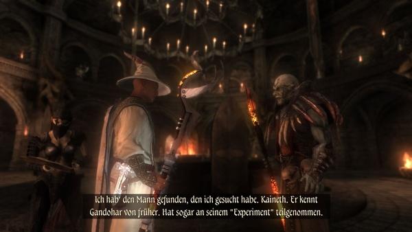 Two Worlds 2 : Bei manchen Dialogen in düsteren Innenräumen steht der Gesprächspartner buchstäblich im Dunkeln.