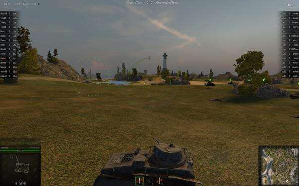 World of Tanks : Zu Beginn verwirrend: Die Kanone ist behäbig, schießen Sie erst, wenn der linke Kreis im rechten angekommen und deutlich kleiner geworden ist.