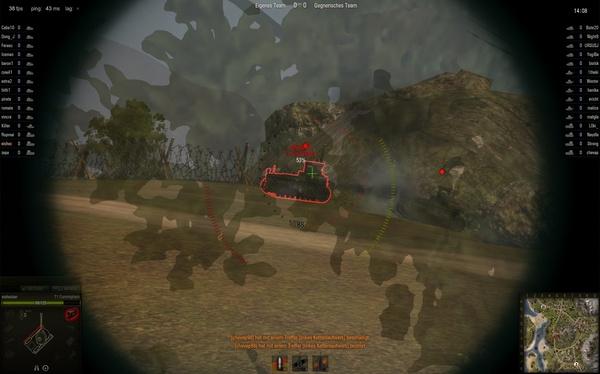 World of Tanks : Der innere Kreis zeigt an, wo Ihr Geschoss einschlagen kann, in dieser Situation ist ein Treffer nicht vorprogrammiert.