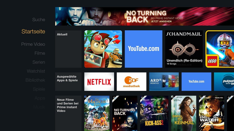 Die Bedienung ist flüssig und durchdacht, auf der Startseite finden sich Apps und Filme.