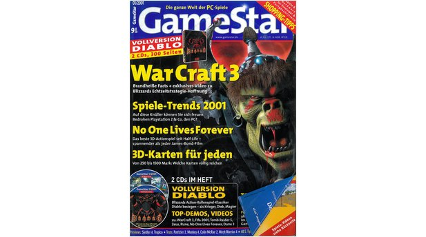 <b>GameStar 1/2001</b><br>WarCraft3-Titelstory und Previews zu Tropico, Siedler 4, Dungeon Siege und Red Faction. Außerdem: Tests zu No One Lives Forver, Donald Duck's Quack Attack, Starship Troopers, Jagged Alliance 2: Unfinished Business, Tomb Raider 5, Blair Witch 2, Die Mumie und Metal Gear Solid (dt.). Reports: Spiele-Trends 2001 und Weihnachts-Shopping.