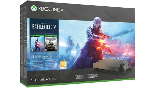 Xbox One X Battlefield V Bundle Gold Rush für 379 Euro.