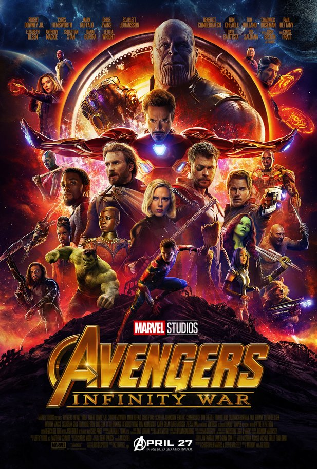 Filmposter zu Marvel's Avengers 3: Infinity War. Deutscher Kinostart am 26. April.