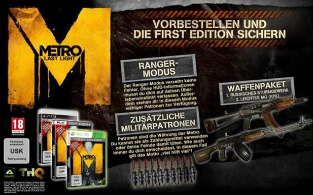 Die »First Editon« des Shooters Metro: Last Light.
