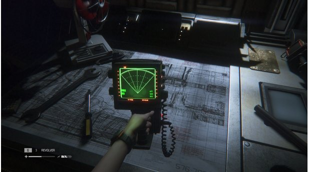 Alien: Isolation - PC-Screenshots aus der Test-VersionDer aus den Filmen bekannte Motion-Tracker zeigt uns die Position aller Lebewesen in der Umgebung - sofern sie sich bewegen.