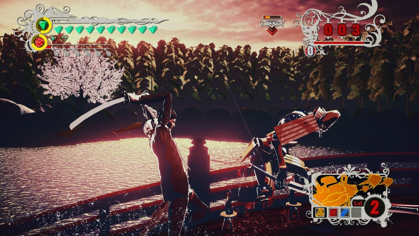 Killer is Dead: Nightmare EditionDie Szenerie wechselt mit jeder Episode, trotzdem bleibt das Verkloppen von Feinden unsere Haupttätigkeit.