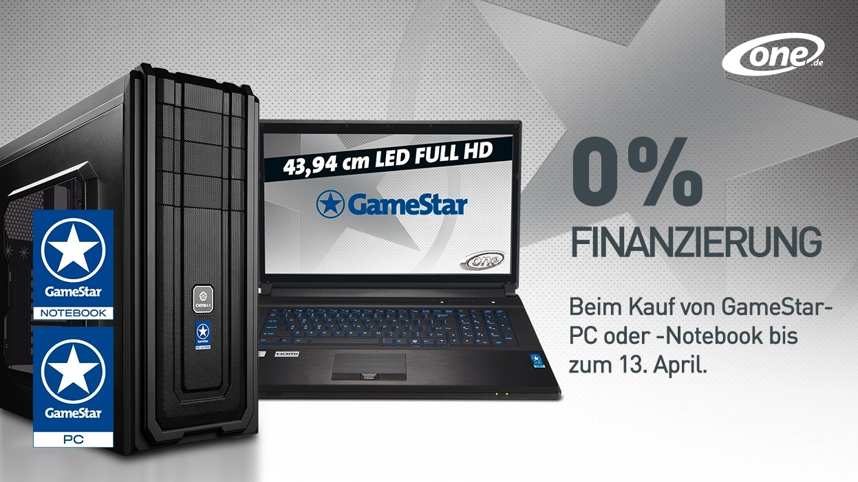 one gamestar pcs notebooks 0 finanzierung bis 13 april gamestar. Black Bedroom Furniture Sets. Home Design Ideas