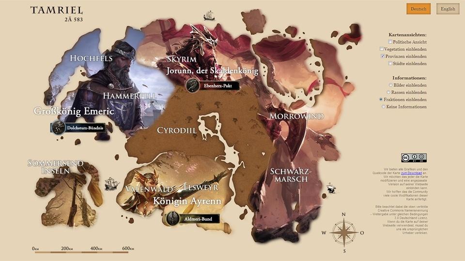 The Elder Scrolls Online - Interaktive Weltkarte online