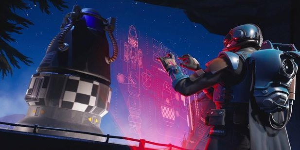 Fortnite: Der Visitor an der Rakete.