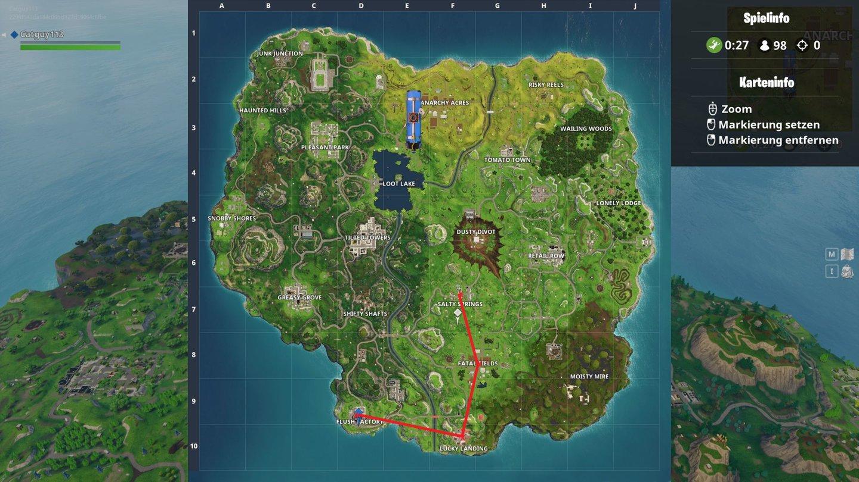Fortnite Zentrum Von 4 Benannten Orten Routen Guide Mit Karte