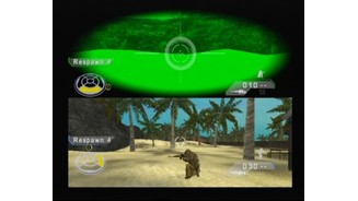 Two player split screen mode in action (note how night-vision is stretched now)