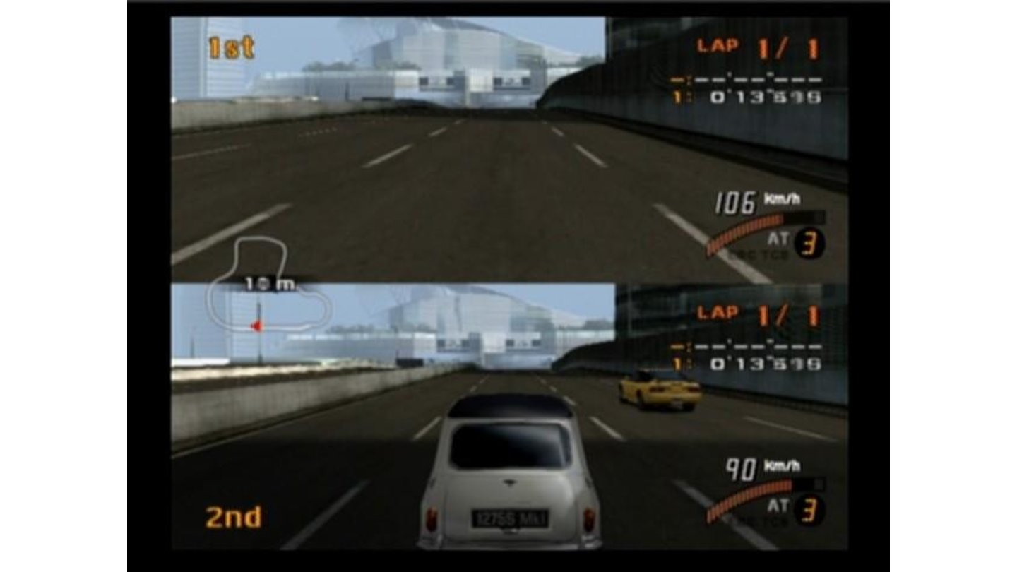 Players can either drive in 1st-person (top) or 3rd-person (bottom)
