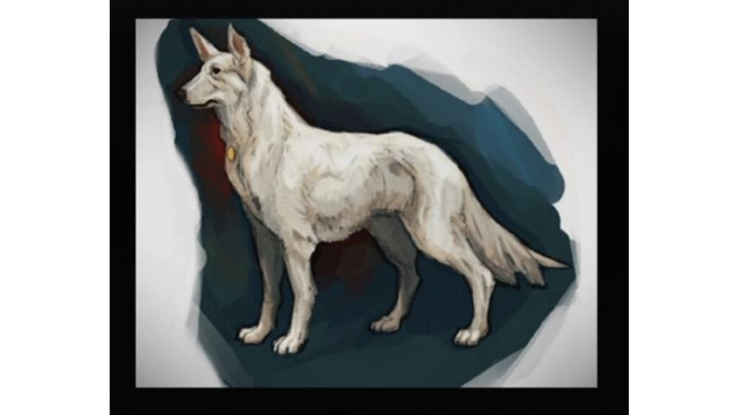 Concept art of Howie, the white German Shepherd