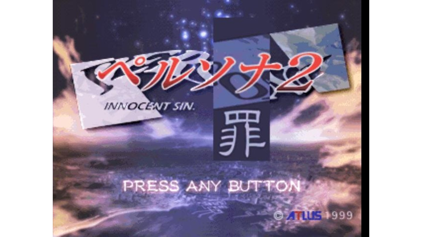 Title screen. The Chinese sign means sin.