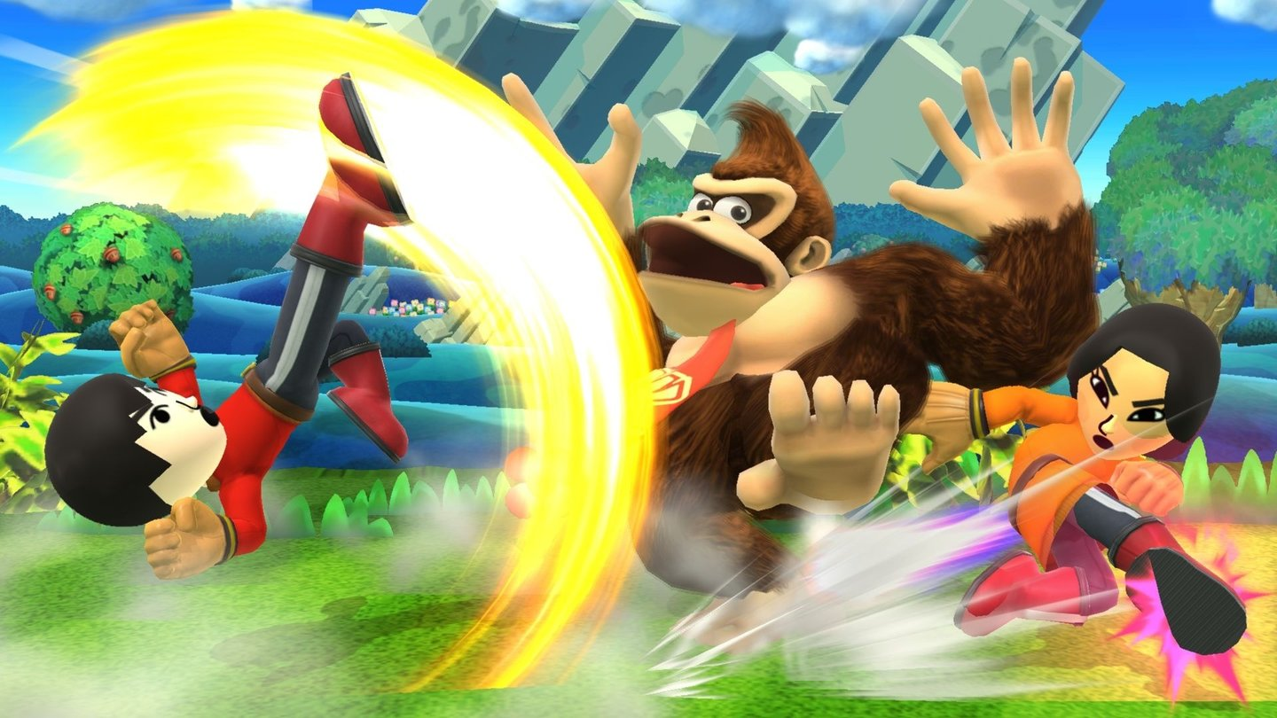 Super Smash Bros. - Screenshots der Wii-U-VersionEin Mii-Brawler hat zwar nur seine Fäuste als Waffe, dafür beherrscht er vernichtende Nahkampf-Moves.